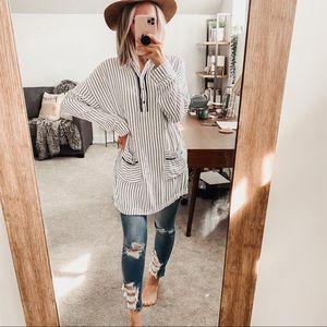 Anthro Lilka | Stripe Half Button Tunic Shirt